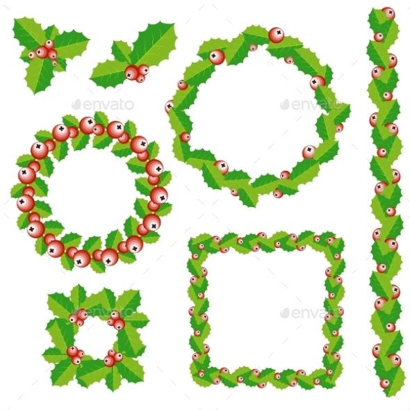 Set of Christmas Wreath, Frames and Borders - Christmas Seasons/Holidays