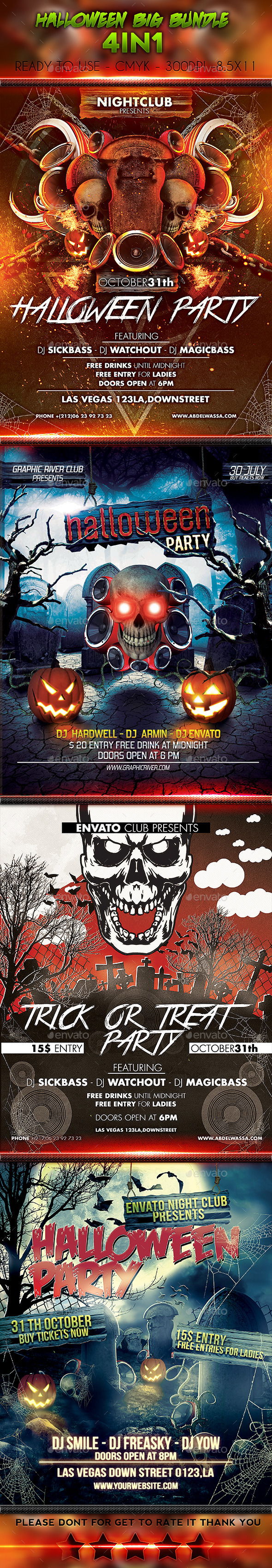 Halloween Big Bundle 4in1 - Events Flyers