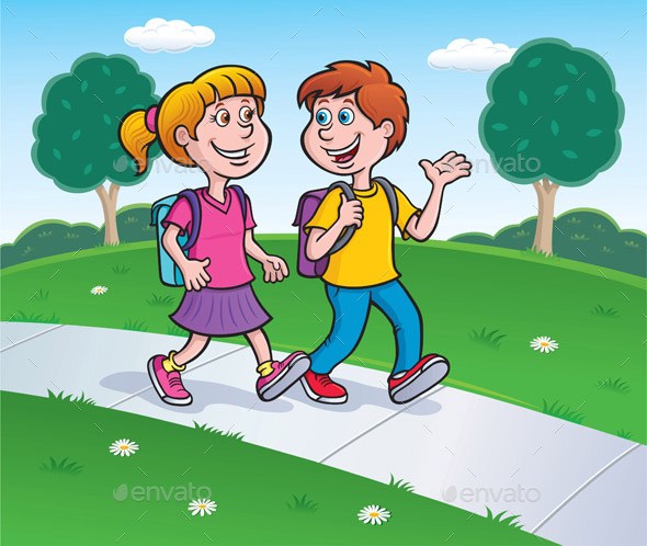Girl and Boy Walking to School  - People Characters
