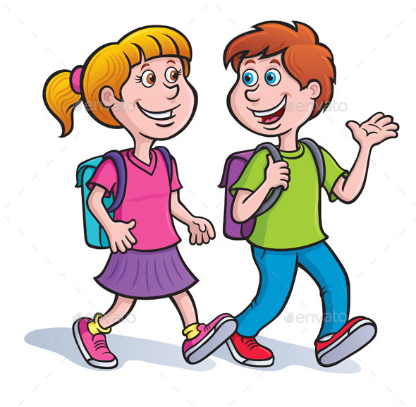 Boy and Girl Walking with Backpacks - People Characters