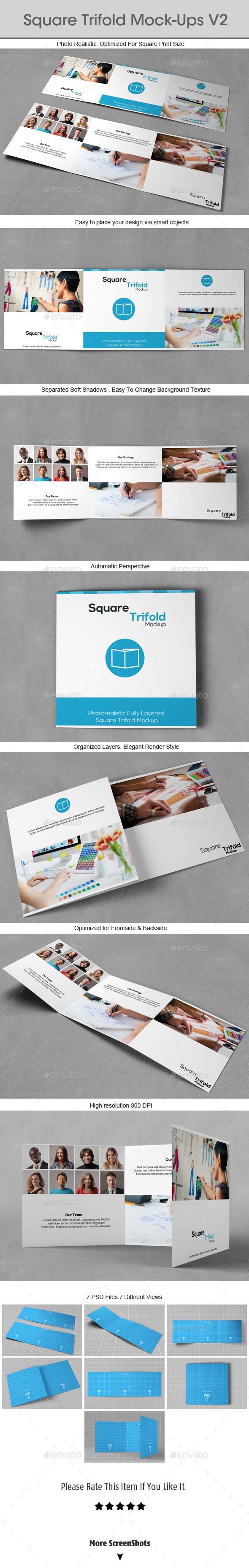 Square Trifold Mock-ups v2 - Brochures Print
