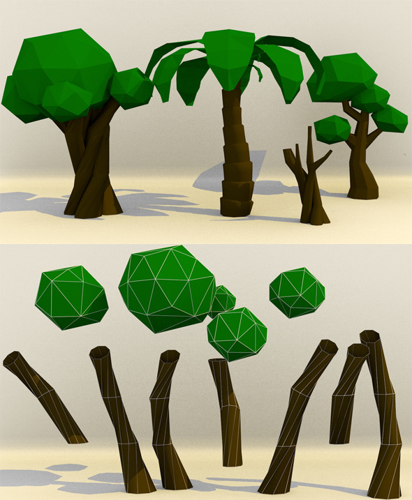 Low Poly Paper Tree - 3DOcean Item for Sale