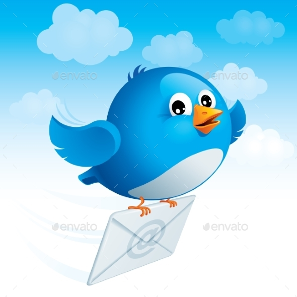 Flying Blue Bird with Envelope - People Characters