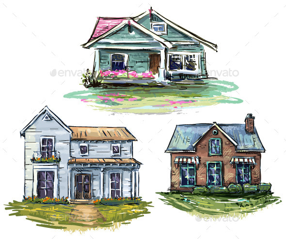 Set of Private Houses, Hand Drawn - Buildings Objects