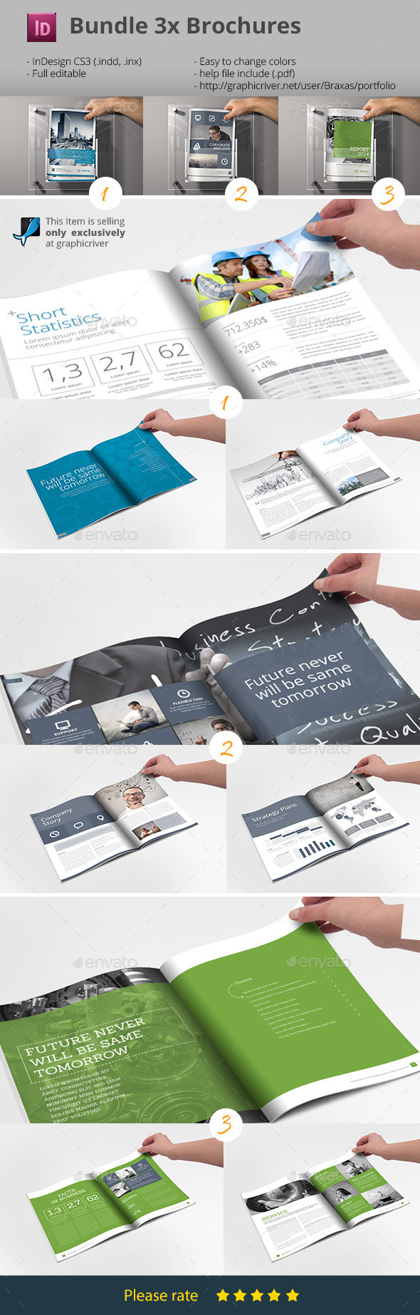Business Brochure Bundle - InDesign Templates - Informational Brochures