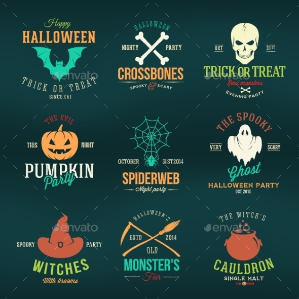 Vintage Typography Halloween Vector Color Badges - Halloween Seasons/Holidays