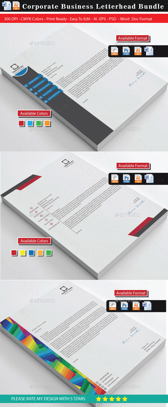 Corporate 2 Modern Letterhead Bundle - Stationery Print Templates