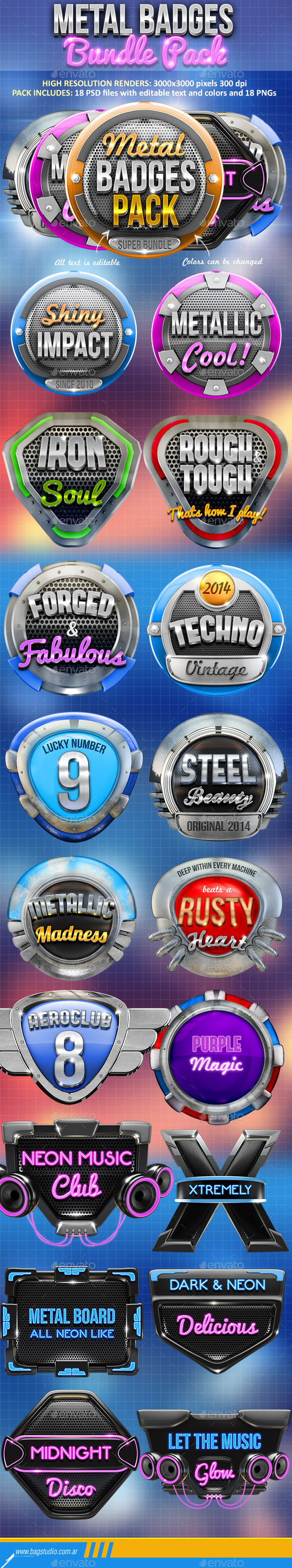 Metal Badges Bundle Pack - Abstract 3D Renders