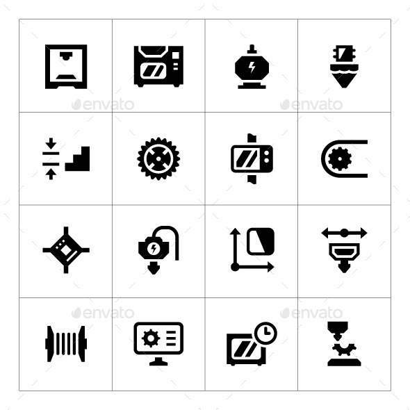 Set Icons of 3D Printing - Technology Icons