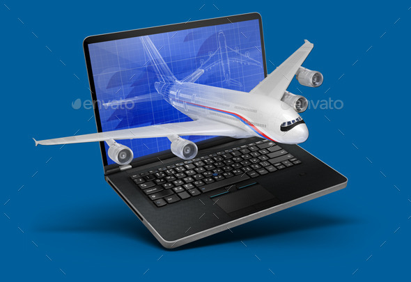 Illustration with a Laptop and a Plane - Objects Illustrations