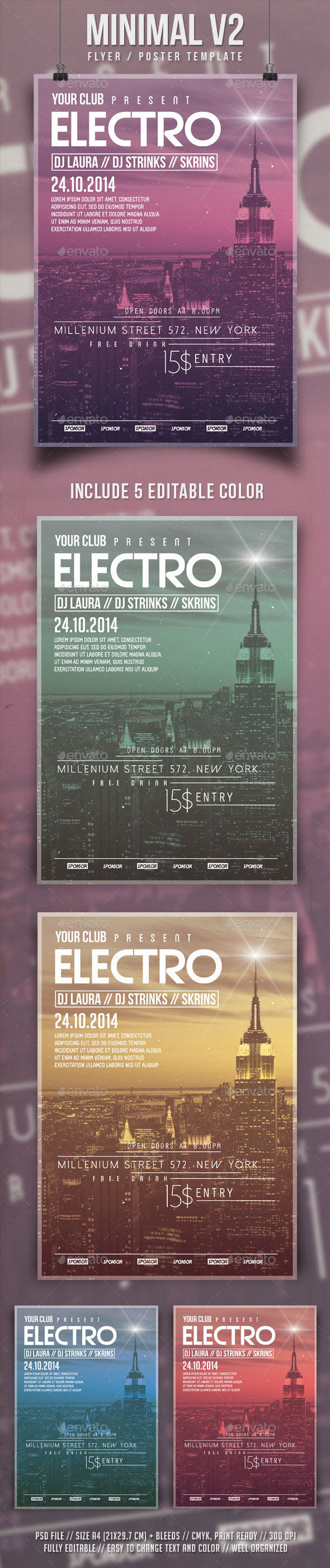Minimal V2 Flyer Template - Clubs & Parties Events