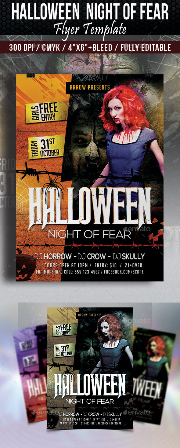 Halloween Night of Fear Flyer Template - Clubs & Parties Events