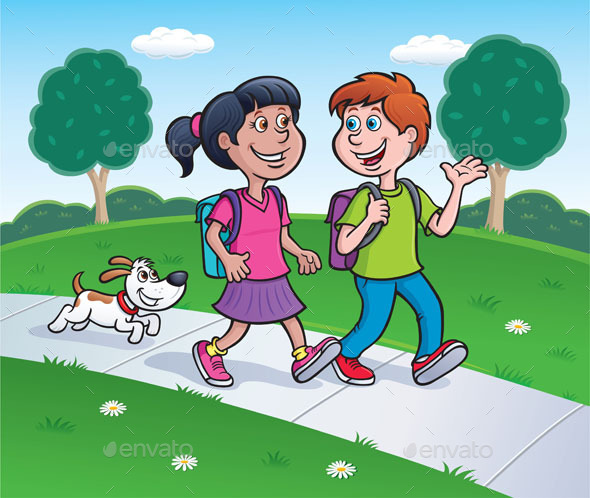 Girl, Boy and Dog Walking Home - People Characters