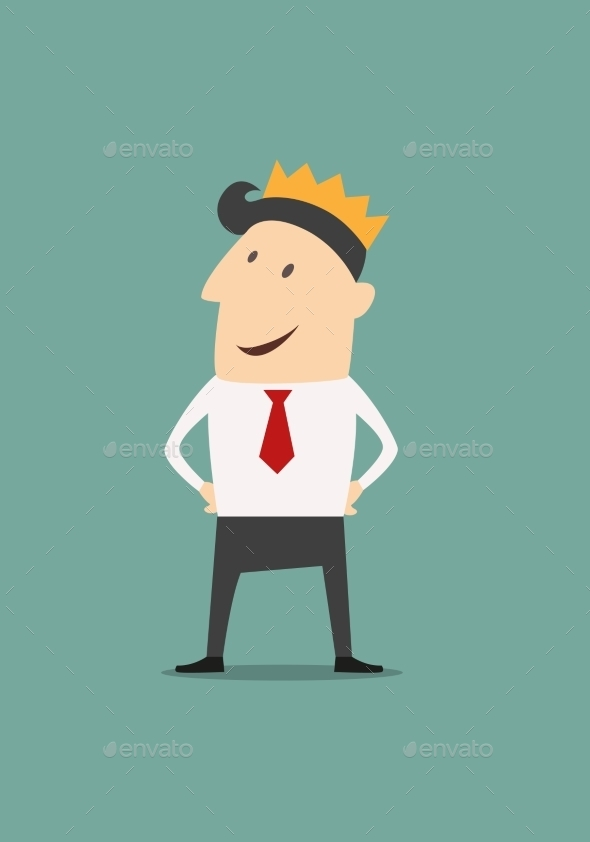 Cartoon businessman wearing a crown - Concepts Business