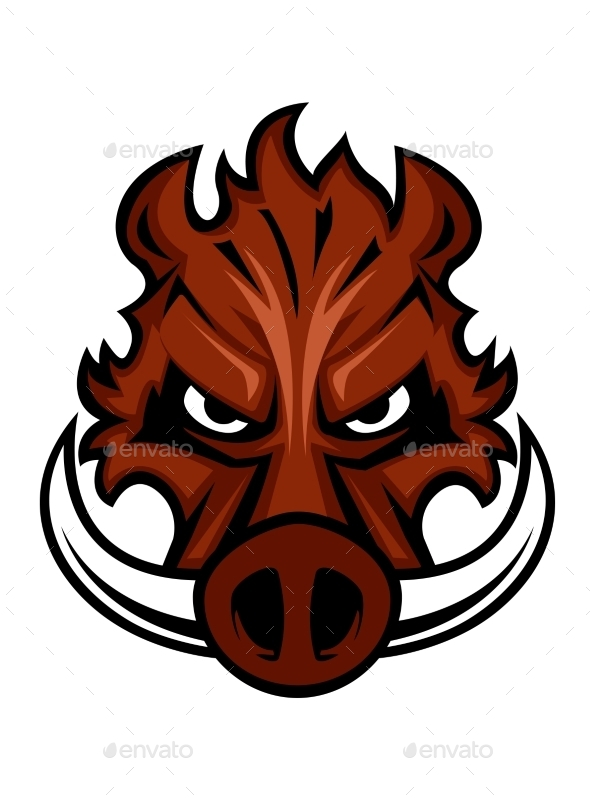 Fierce angry wild boar head - Animals Characters