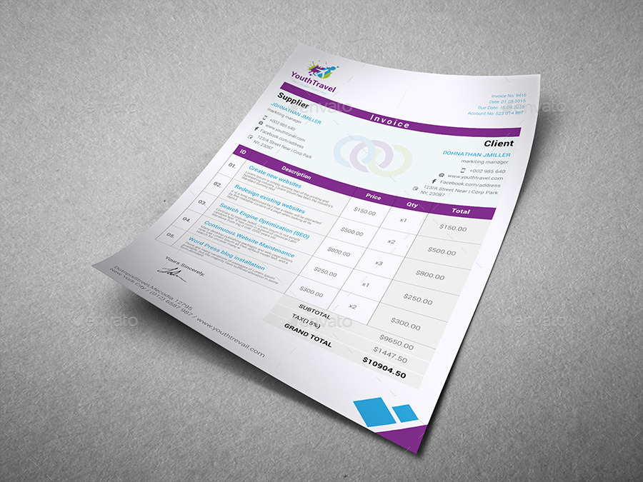 Travel Invoice By Dotnpix | Graphicriver