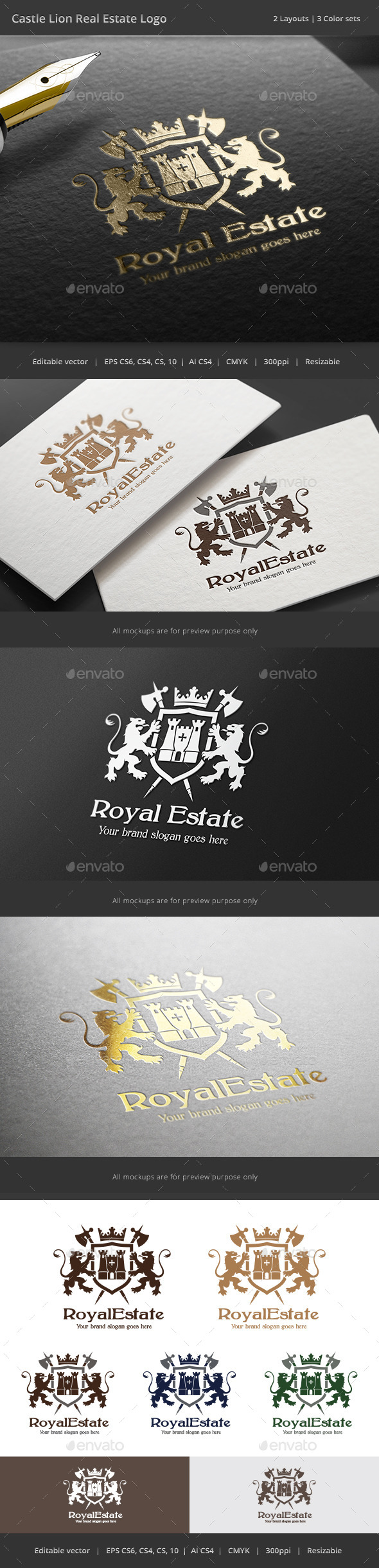 Castle Lion Real Estate Logo - Crests Logo Templates