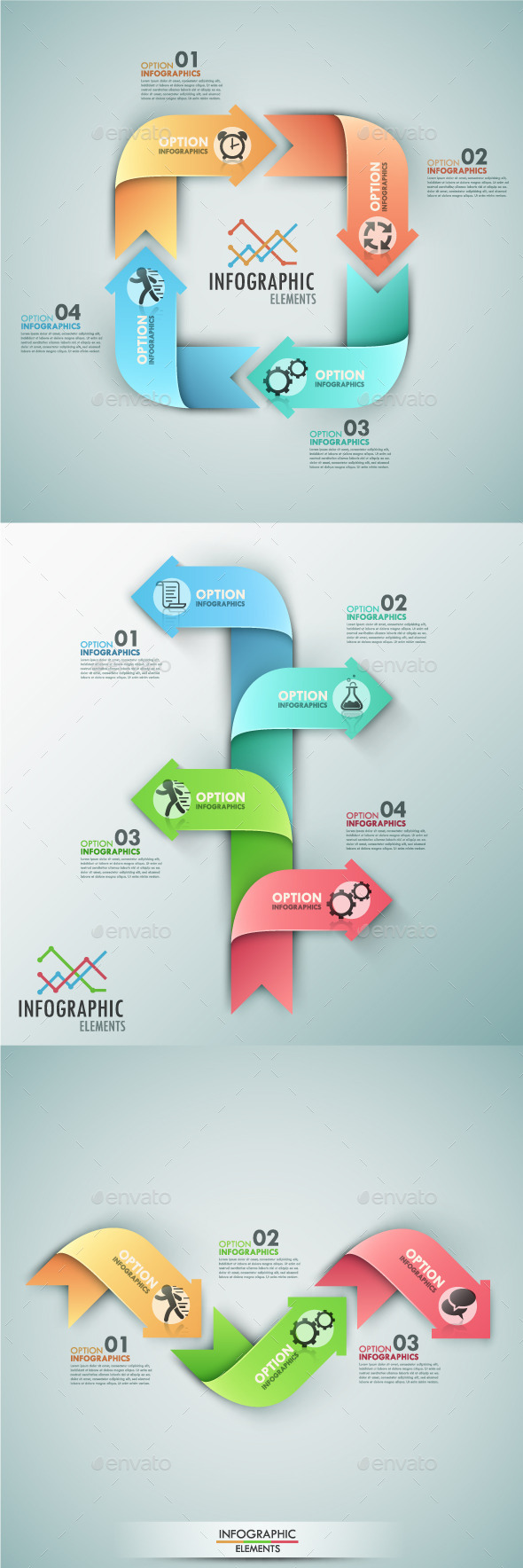 Set Of 3 Infographic Templates With Arrows - Infographics