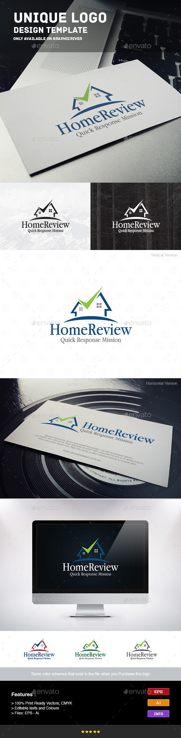 Home Review - Buildings Logo Templates