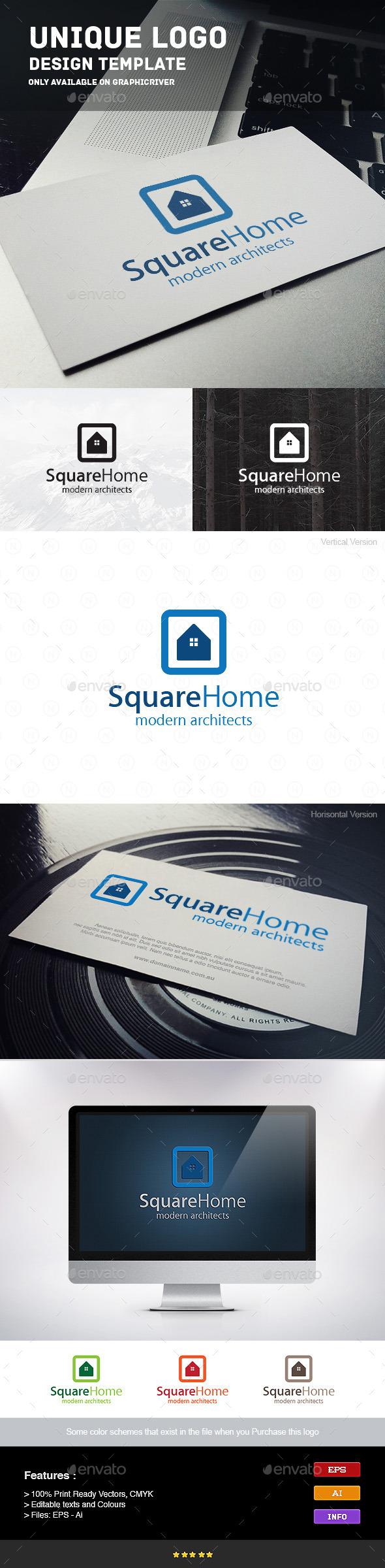 Square Home - Buildings Logo Templates