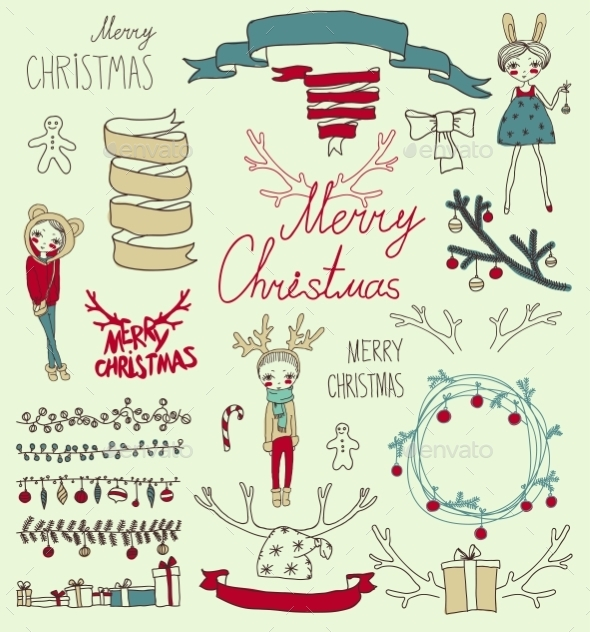 Vector Set Christmas Calligraphic Design Elements - Christmas Seasons/Holidays