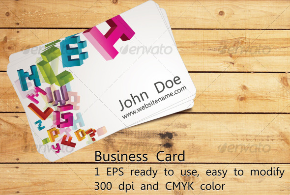 Business Card With Bright Letters - Creative Business Cards