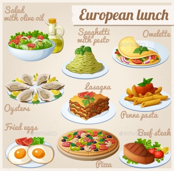 Set of Food Icons. European Lunch - Food Objects