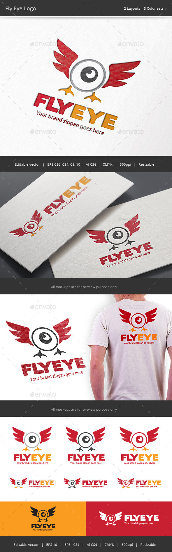 Fly Eye Drone Camera Logo - Objects Logo Templates