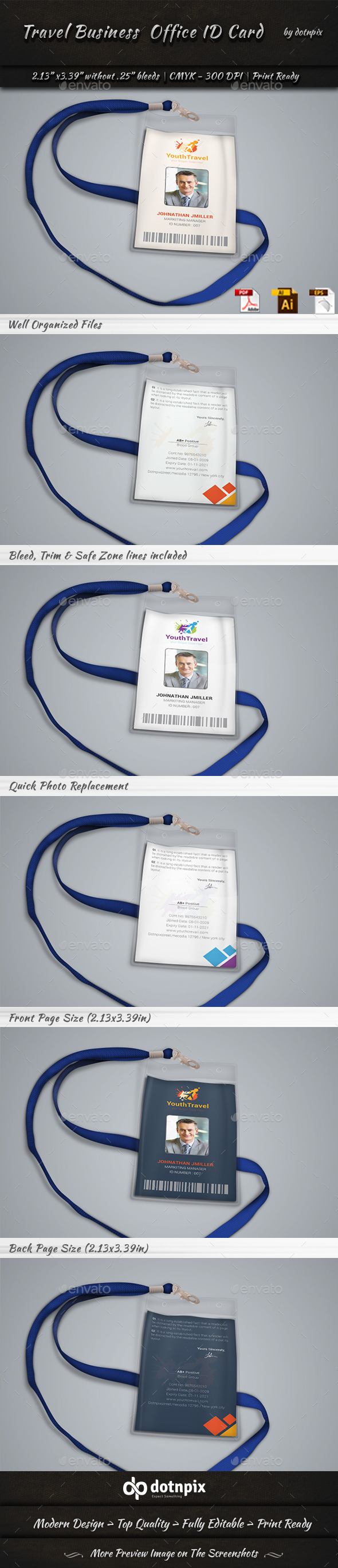 Travel Business Office ID Card by dotnpix | GraphicRiver