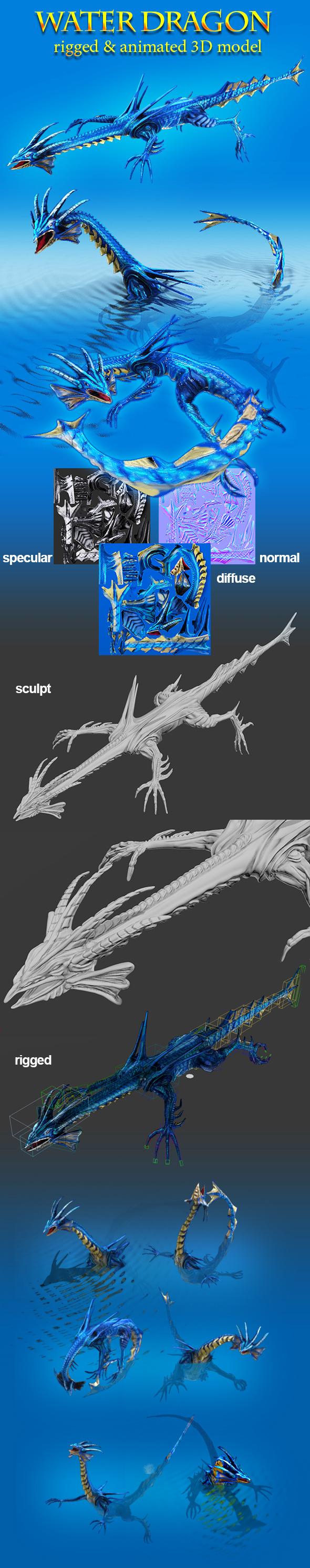 Toon Water Dragon - 3DOcean Item for Sale