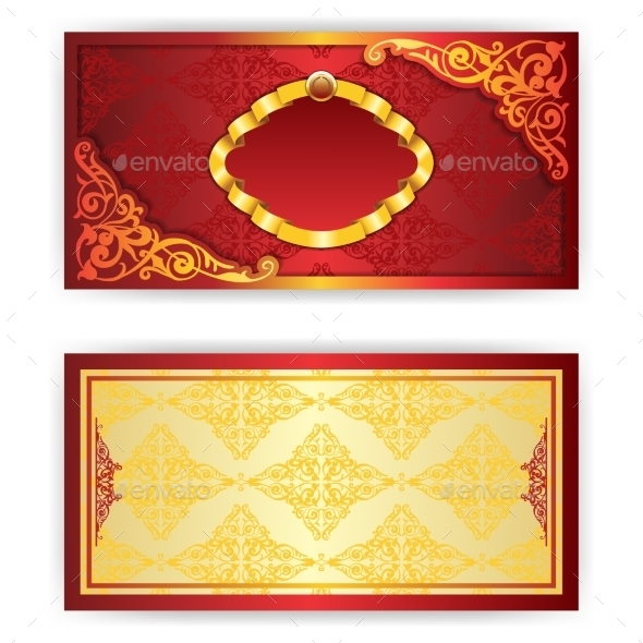Vector Royal Invitation Card with Frame - Patterns Decorative