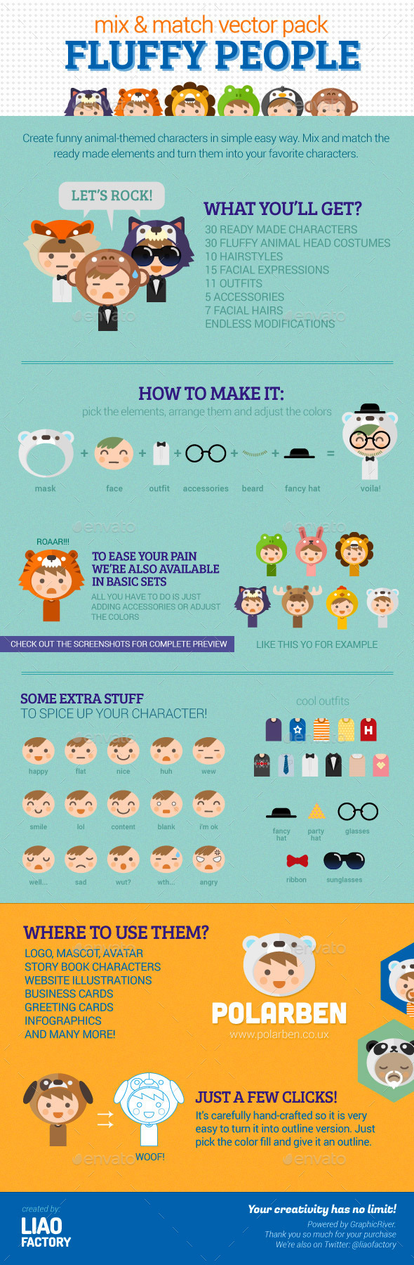Fluffy People Characters Design Vector Pack - Characters Vectors