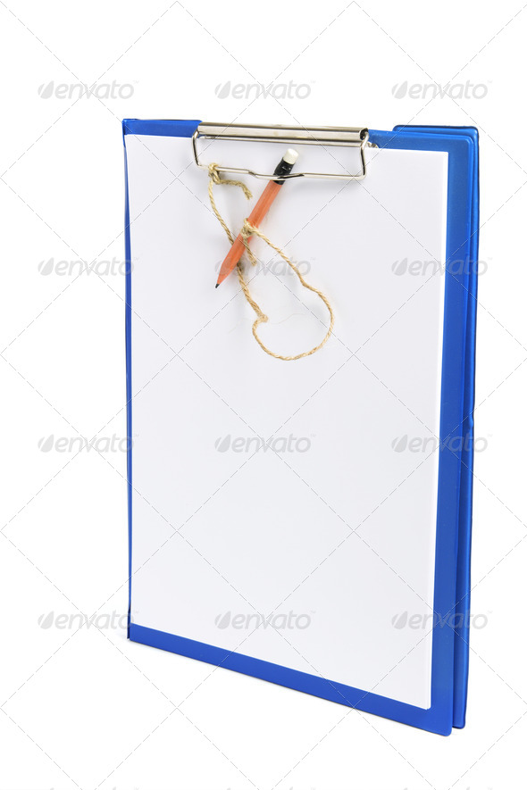 Clipboard with Papers and Pencil - Stock Photo - Images