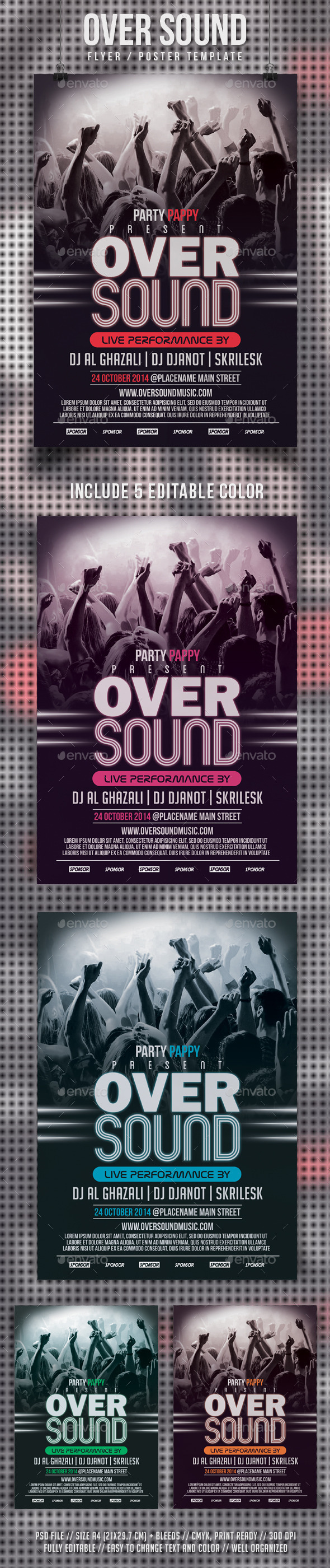 Oversound Flyer Template - Clubs & Parties Events