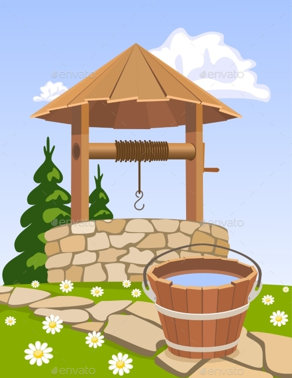 Old Wooden Well and Bucket of Water - Landscapes Nature