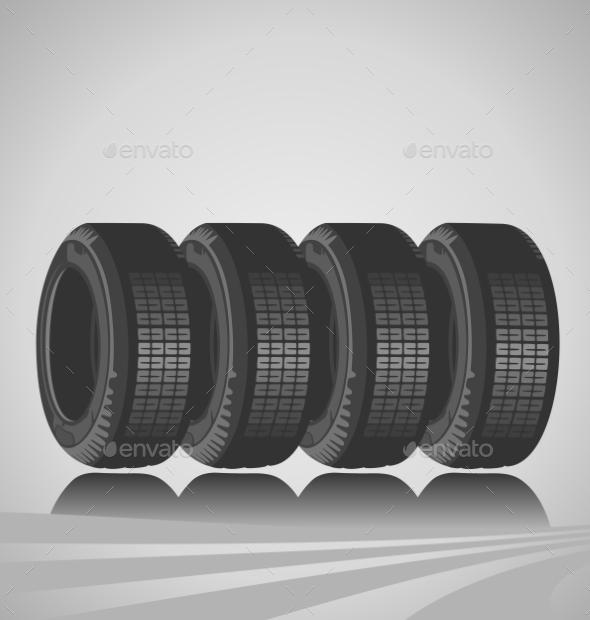 Car Tires - Objects Vectors