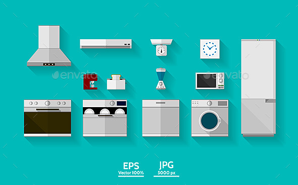 Flat Vector Icons for Kitchen Appliances - Man-made Objects Objects
