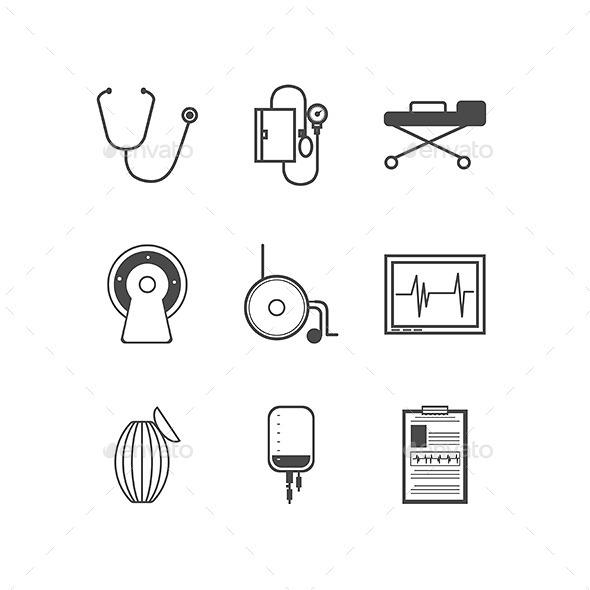 Black Vector Icons for Resuscitation - Health/Medicine Conceptual