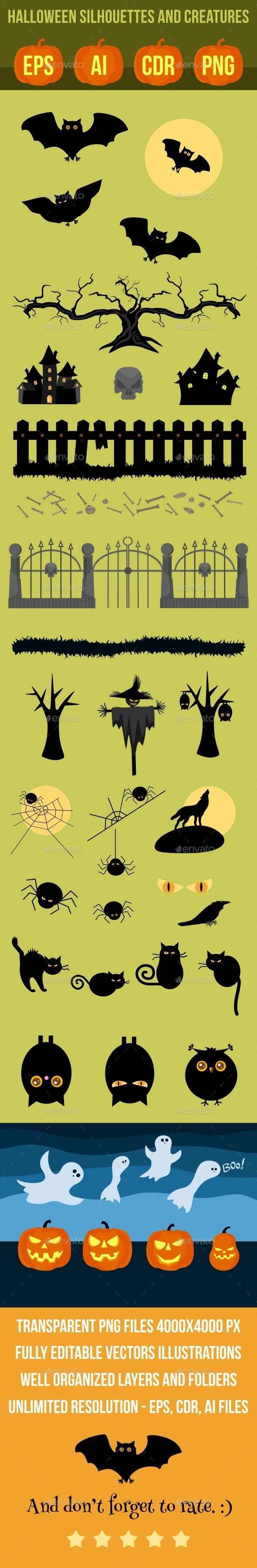Halloween Vector Silhouettes and Creatures - Halloween Seasons/Holidays
