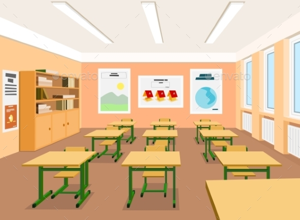 Vector Illustration of an Empty Classroom - Buildings Objects