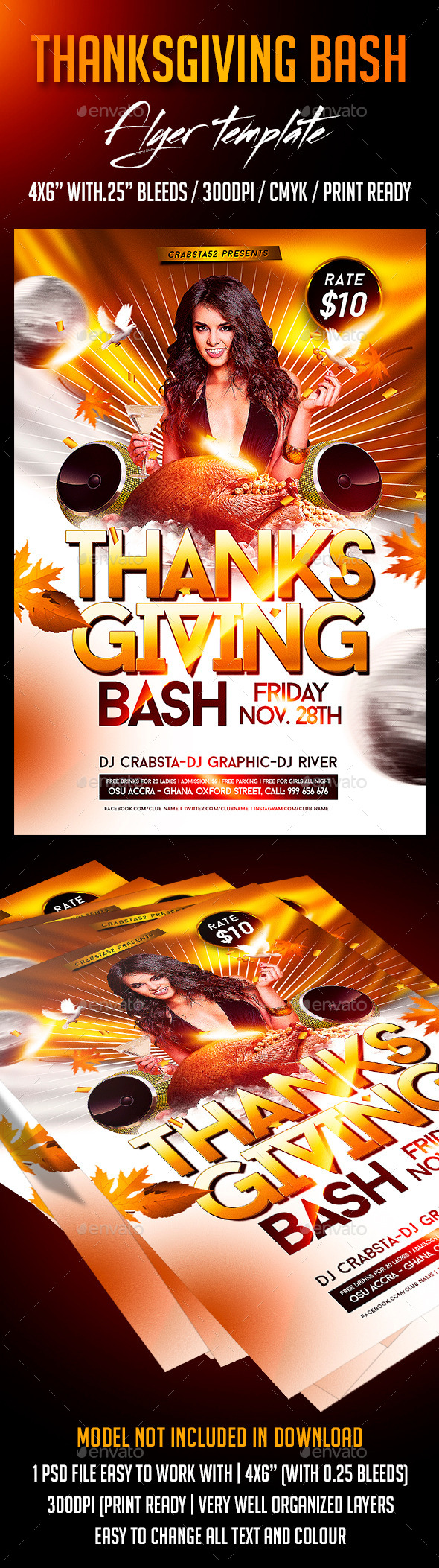 Thanksgiving Bash Flyer Template - Holidays Events
