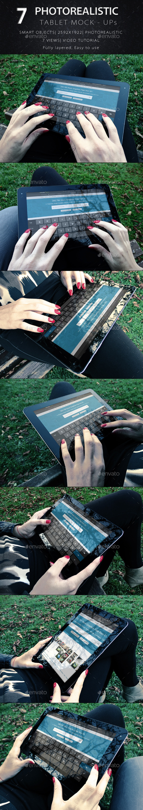 Photorealistic Tablet With Female Hands Mock-Up V1 - Product Mock-Ups Graphics
