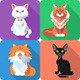 Set Cat Icon Flat Design  - GraphicRiver Item for Sale