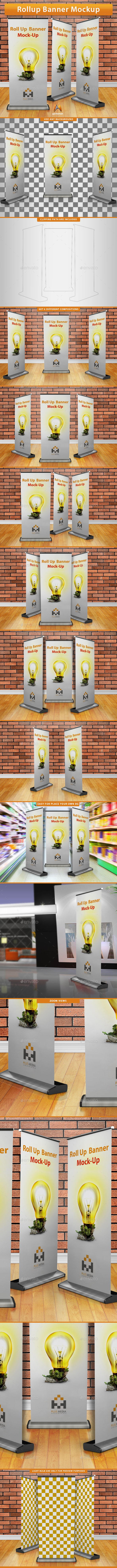 Roll-Up Banner Mockup - Print Product Mock-Ups