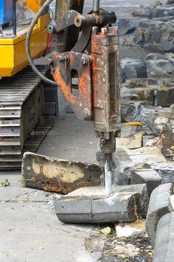jackhammer on building site - Stock Photo - Images