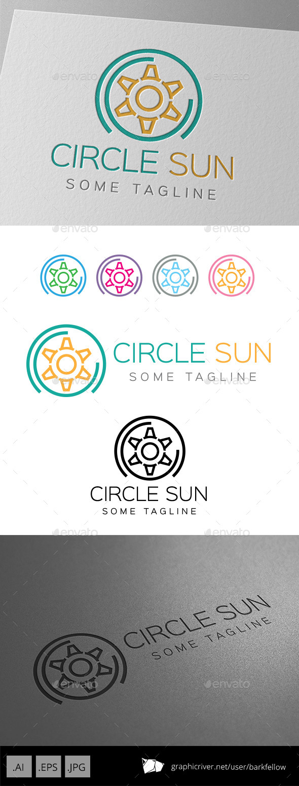 Six Side Circle Sun Logo - Abstract Logo Templates