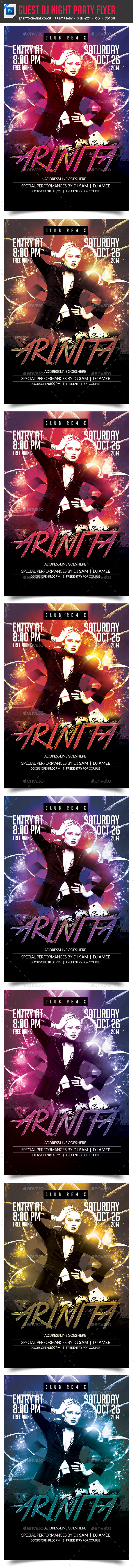 Guest Dj Night Party Flyer - Clubs & Parties Events