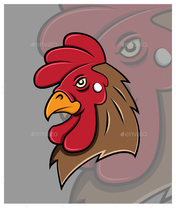 Rooster Head Vector - Animals Characters