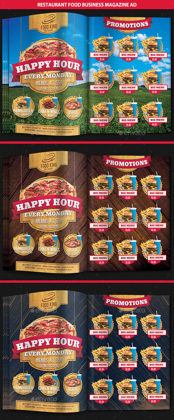 Restaurant Food Promotion Magazine Ad - Magazines Print Templates