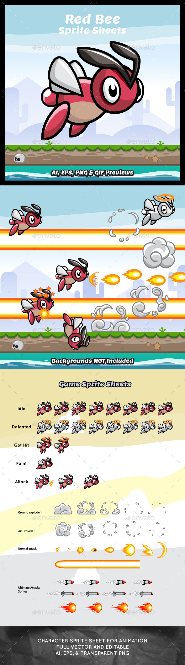 Red Bee Game Character Sprite Sheets - Sprites Game Assets